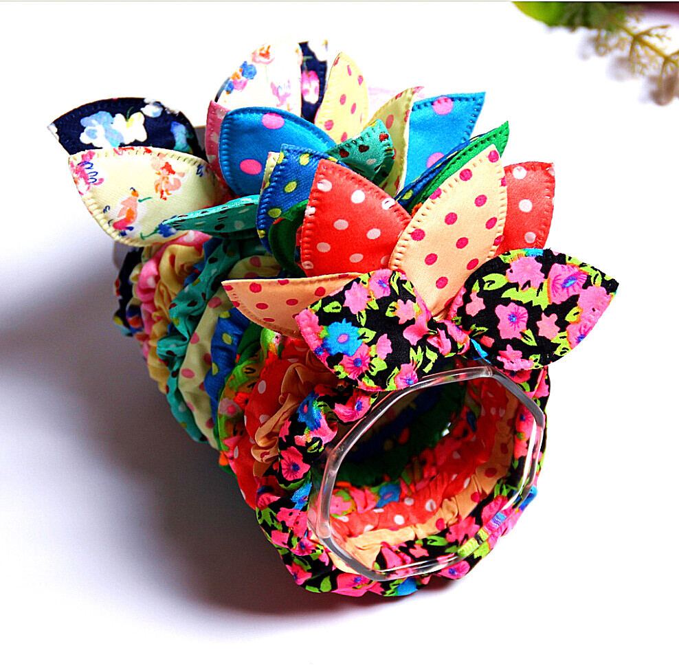 Free Shipping Fashion Baby Hair Band Polka Dot Elastic Hair Rope Ponytail Holder Rabbit Ears Hair Tie Girl Hair Accessory(China (Mainland))