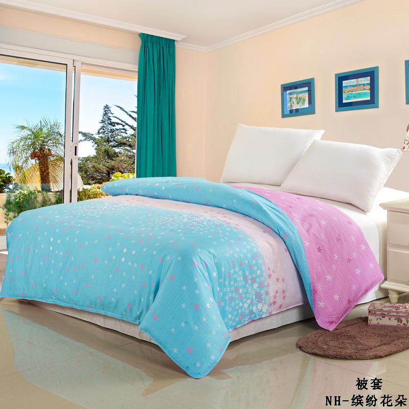 100 cotton light blue flower grade a dobby printed adult twin size comforter bedding bag home. Black Bedroom Furniture Sets. Home Design Ideas