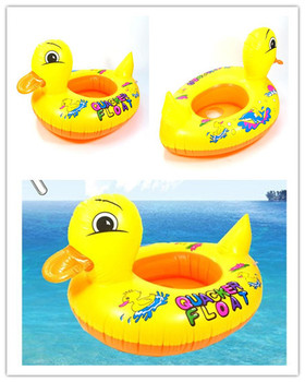 Baby Kids Swimming Swim Yellow Duck Trainer Seat Inflatable Boat Ring Pool Free Shipping
