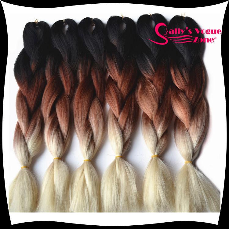 Ombre Kanekalon Braiding Hair Synthetic Jumbo Braiding Hair Three Tone Black+Brown+Blonde 24inch 100g/pc Jumbo Braids Hair Bulk(China (Mainland))