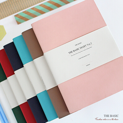 2015 Vintage Korean Planner The Basic Diary Ver.2 Weekly Scheduler B6 224 Pages Personal Organizer Faux Leather Cover Journal(China (Mainland))