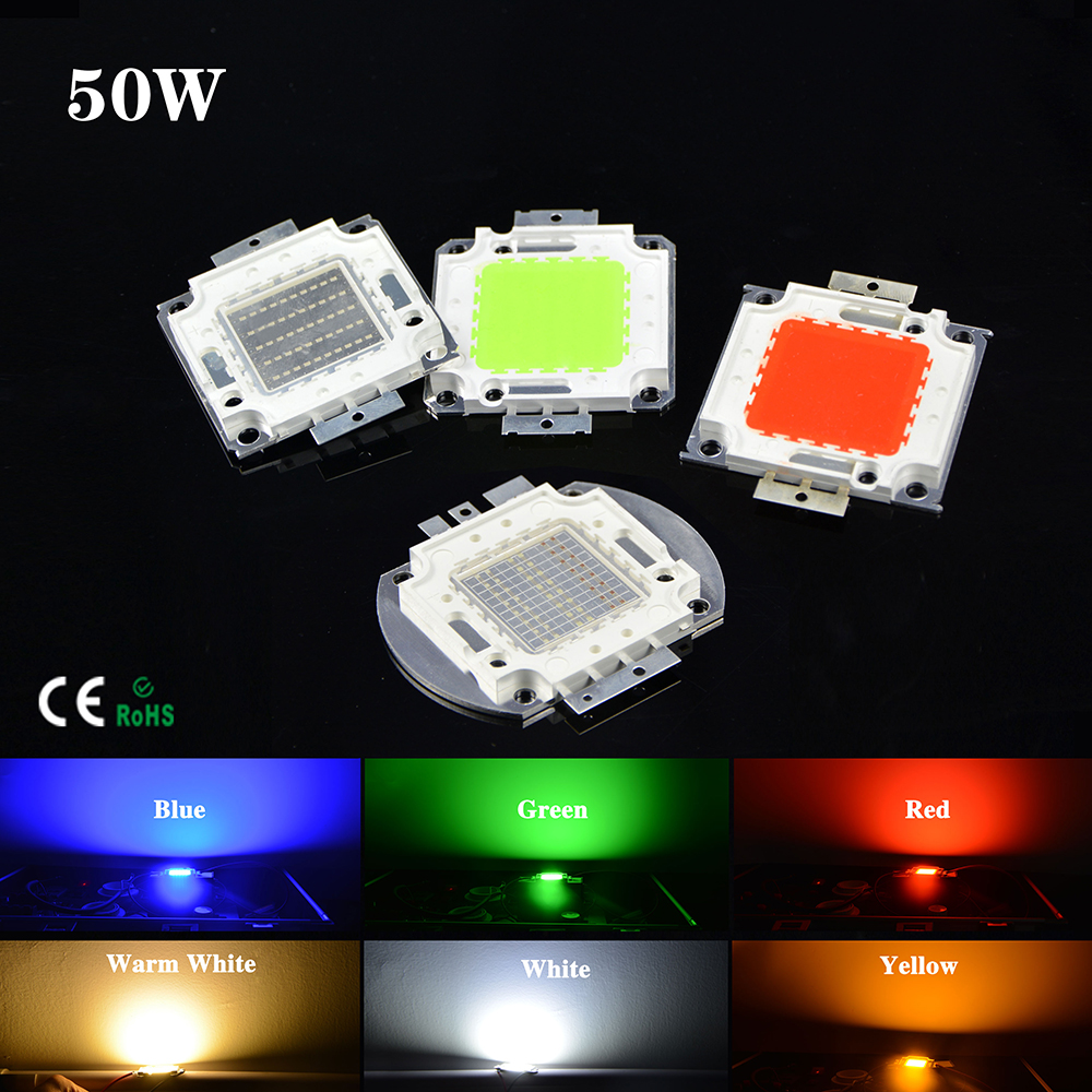 COB 50W LED lamp Bead SMD High Power Integrated Chip For Floodlight Spotlight DIY Warm white / Red / Green / Blue / Yellow / RGB(China (Mainland))