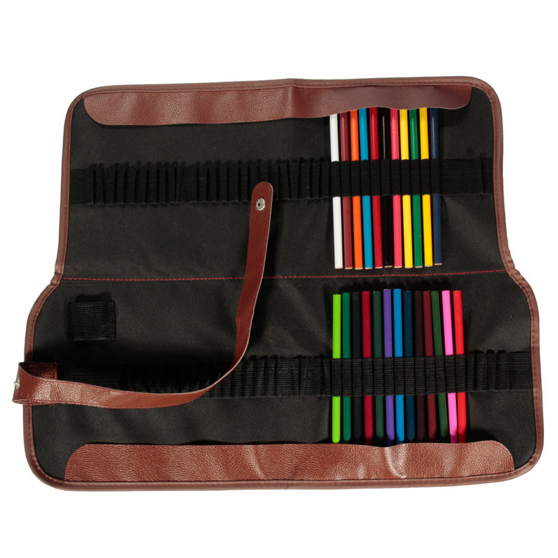 Excellent 72 Hole Pencil Bag School Painting Stationery Canvas Roll Up Pencil Case Sketch Pencil Brush Bag Kits Rolling Holders(China (Mainland))