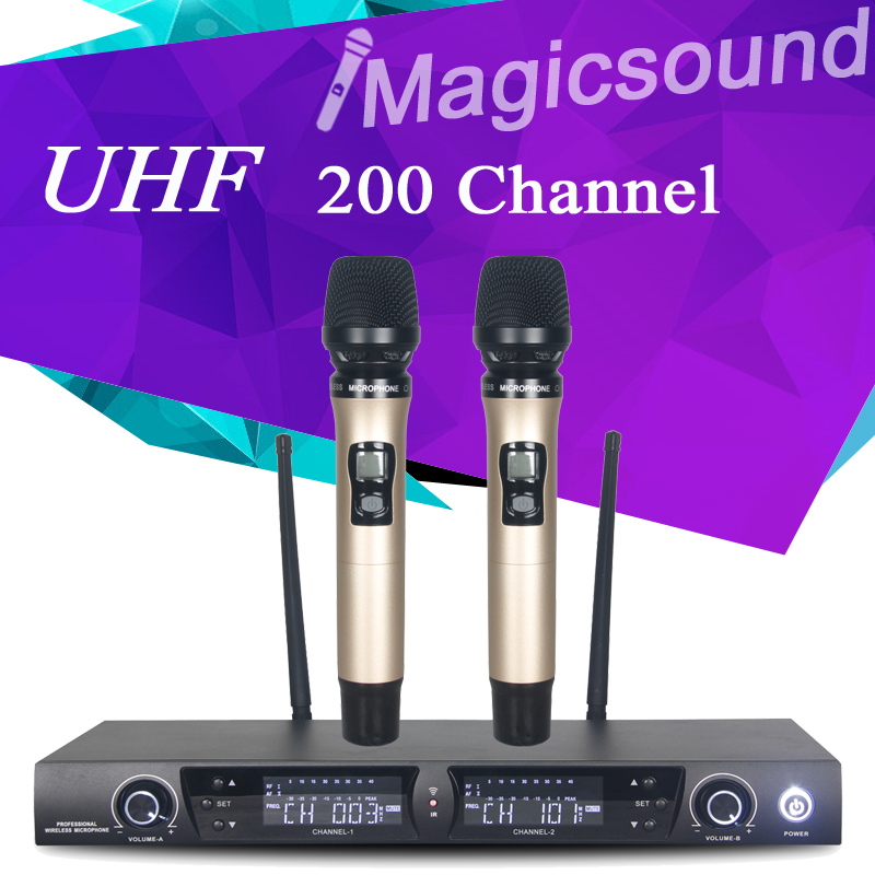 200 Channel !! Champagne Gold Color Dual Handheld !! Wholel Metal UHF Wireless Microphone Mic System for Karaoke KTV(China (Mainland))