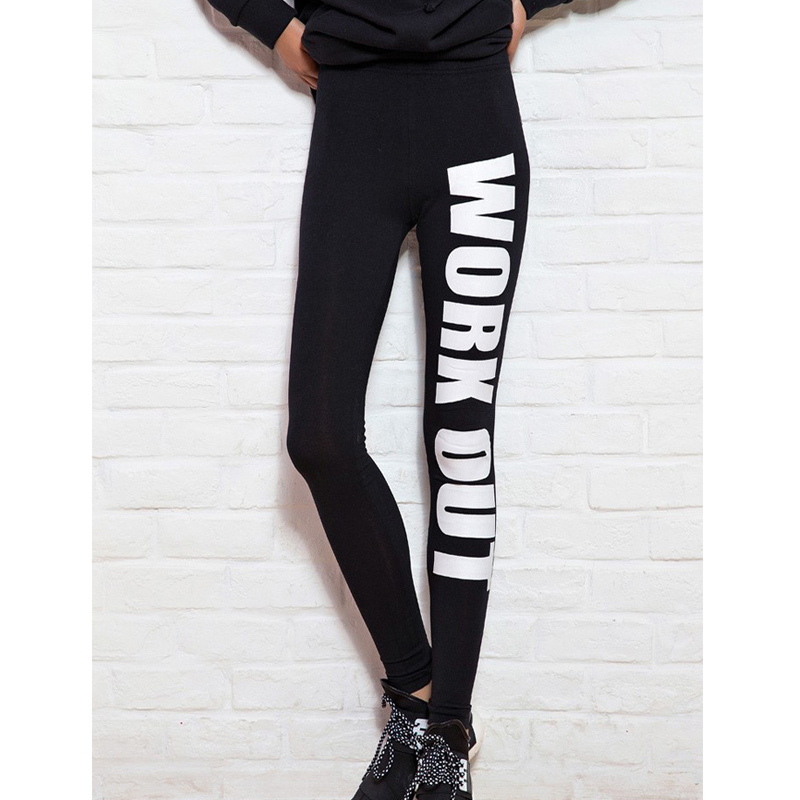 2015 Fashion Women Clothing WORK OUT Letters Leggings Slim Sexy Sportswear Gym Sports Fitness Leggings Winter Pants For Woman(China (Mainland))