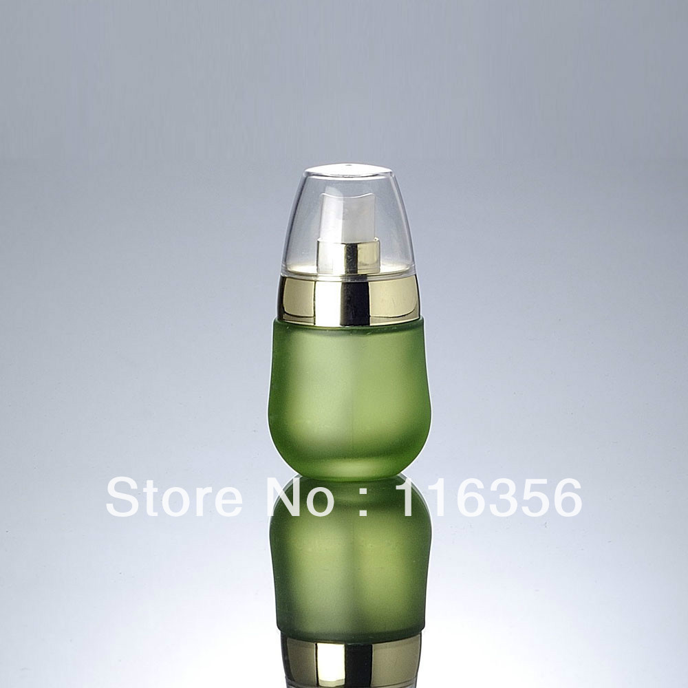 30ML green glass bottle with golden lid, press pump bottle<br><br>Aliexpress