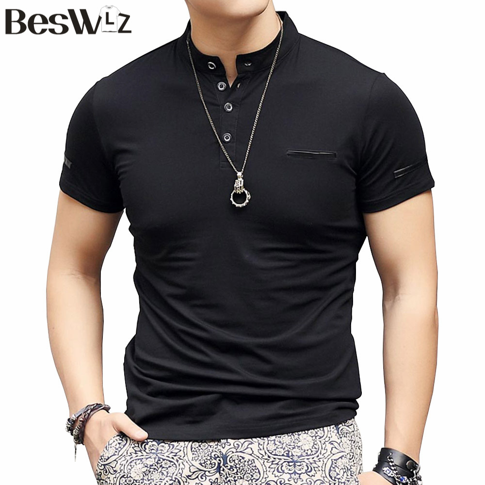 Men t shirts short sleeve mandarin collar summer new for Mens collared t shirts
