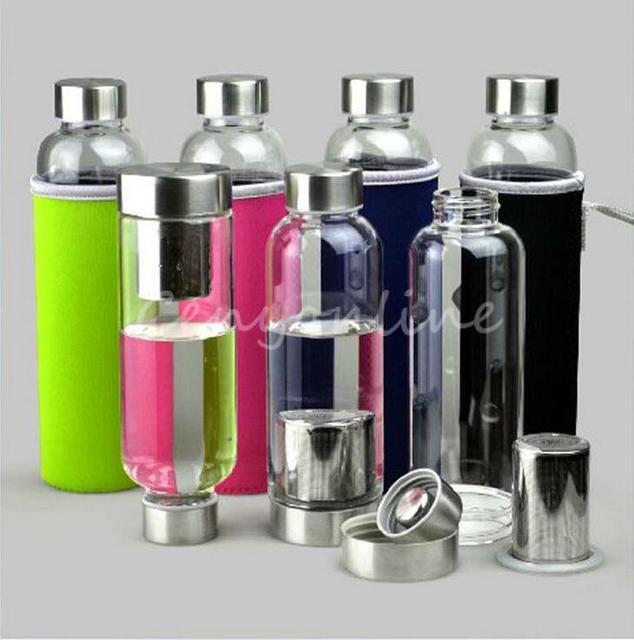 Лучшая цена BPA бесплатно стекло спорт бутылки воды с чай фильтр для заварки защитная сумка 550 мл фрукты открытый экологичный