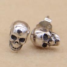 925 Sterling Silver Earrings Studs Set Small Cranium Rock Punk Gothic Character Retro Jewellery For Males And Ladies Brinco Masculino