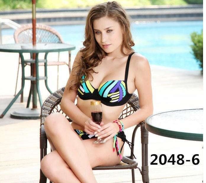 2015 new summer style Super plus larger and deeper CUP D E Steel prop push up well Padded Summer dress bathing suit swimwear(China (Mainland))