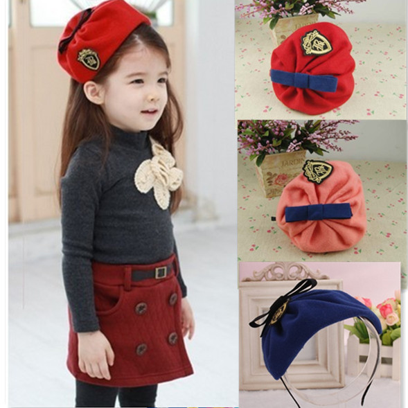 Fashion Pure Wool Navy Style Badge Bow Girls Hair Bands Children Accessories Hair Accessories Baby Hair Band(China (Mainland))
