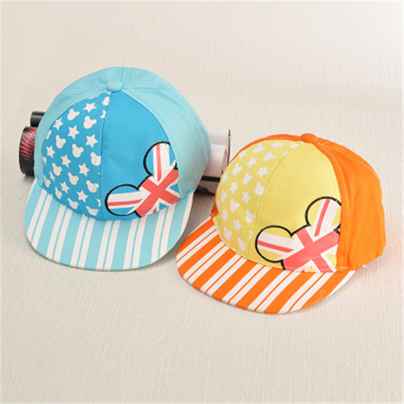 The new spell color children baseball cap cartoon Torx snapback printing Korean boys and girls lovely flat along the hiphop hat(China (Mainland))
