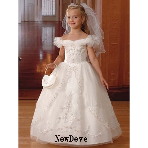 Best Design Ivory Cap Sleeve Applique Organza Flower Girl Dress Gown Beads - NewDeve Wedding Factory store