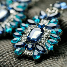 Shijie 2015 Statement Trendy Jewelry Elegant Shiny Resin Stone Blue Plant Earrings Factory Wholesale