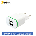 5V 2A EU Plug LED Light 2 USB Adapter Mobile Phone Wall Charger Device Micro Data