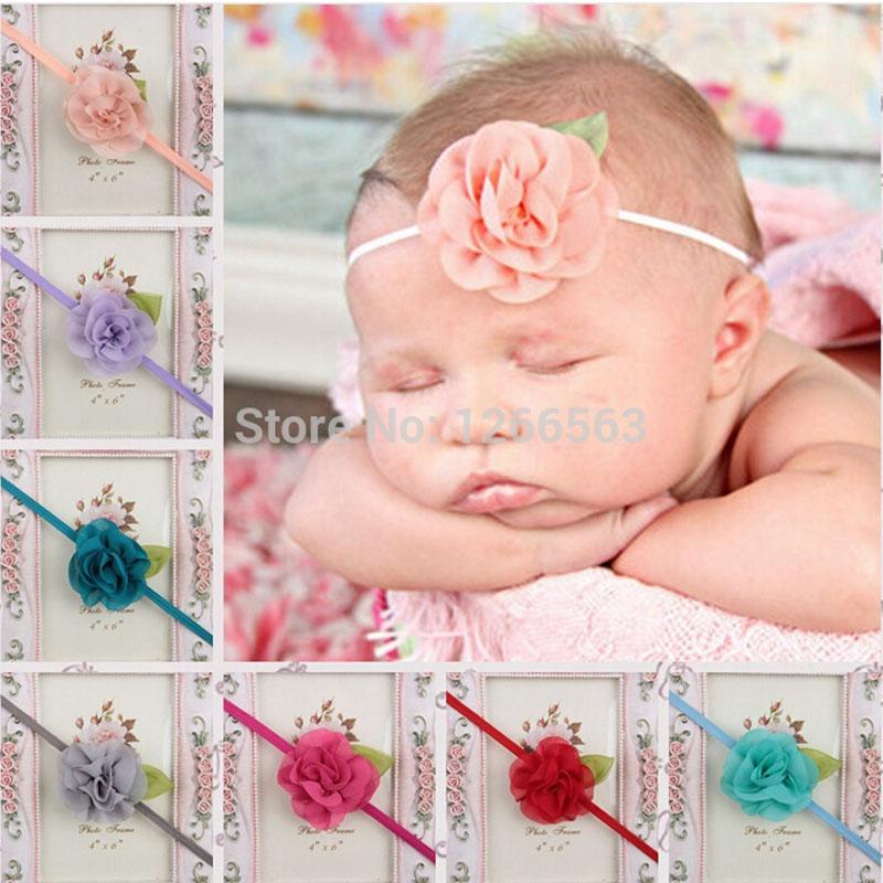 2016 Fashion Toddler Infant Elastic Chiffon Flower Hair Band Baby Girl Headbands Hair Accessories Baby Headband haarband baby(China (Mainland))