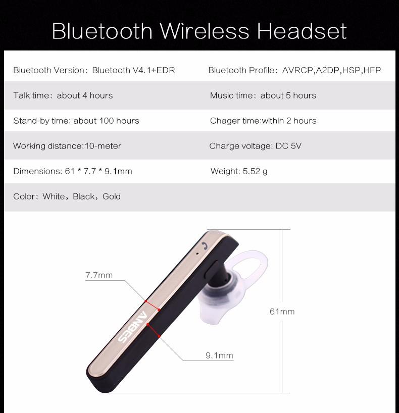 Original ANBES Ultralight Stereo Bluetooth Headset Bluetooth Wireless Hands Free Earphone Headphone w/ Mic For Samsung iPHONE PC