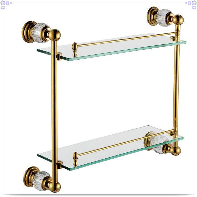 Crystal & Latão prateleira Do Banheiro duplo prateleira de cobre Puro & vidro, ferragem do banheiro CY018 gaseificador de poupança de água(China (Mainland))