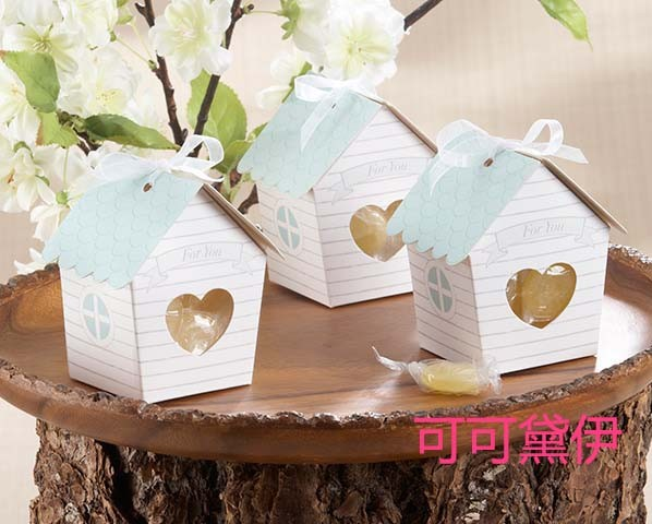 On Sale!!! Wedding Favors Gift Boxes Ribbons,Elevators Included Super Cute Tiny Little House Favor Candy Boxes 50pcs/lot(China (Mainland))