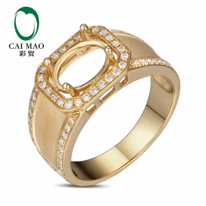 Здесь можно купить  CaiMao Oval cut Semi Mount Ring Settings & 0.43ct  Diamond 18k Yellow Gold Gemstone Engagement Ring Fine Jewelry  Ювелирные изделия и часы