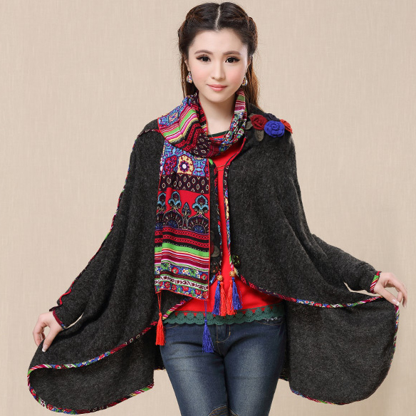 2015 vintage кардиган for Женщины autumn spring ethnic Длинный Рукав flowers embroidery ...