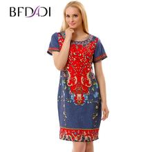 BFDADI 2016 Лето Женщины Повседневная Сексуальное Платье Женщины Ретро шаблон шею с коротким рукавом Платья Большой размер 2837(China (Mainland))
