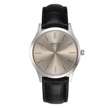 Srozi marca de fábrica famosa 5.8 mm más delgado hombres clásico reloj ocasional gris Dial minimalismo diseño para mujer relojes par de cuarzo