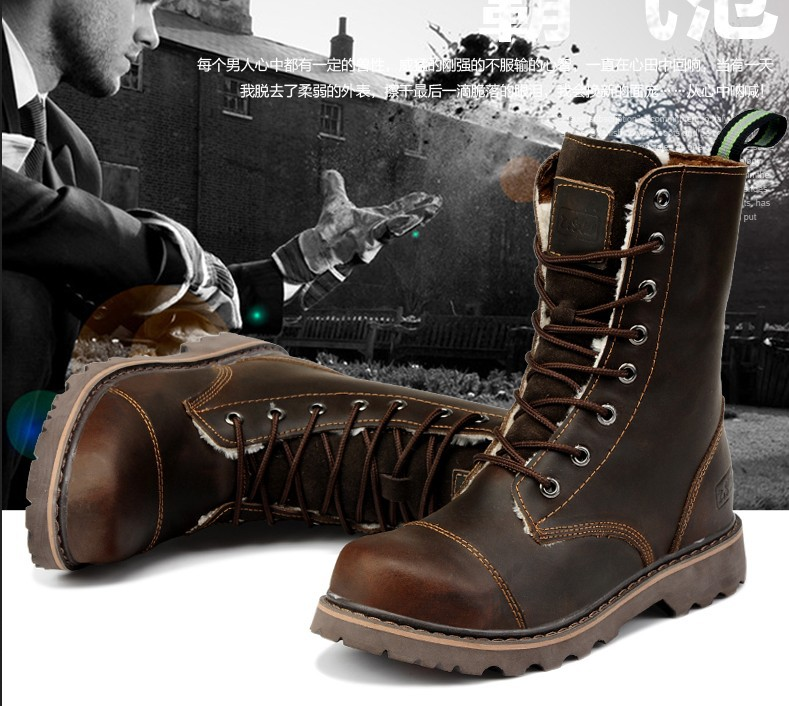 2015 fashion Men's tidal current boots cotton Shoes genuine leather high male outdoor tooling - Kuta Co., Ltd. store