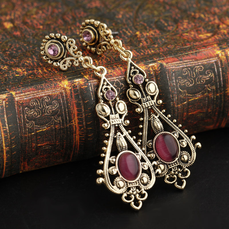 Special Vintage Alloy Drop Earrings Free Shippings Red Opal Long Earrings For Girls Women Wholesale EHB09A2503