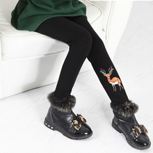 Very Warm!!! New Winter Pants Fleece Leggings for Girls Thick Cotton Patterned Warm Baby Thermal Black Pink Kids Trousers 3-8T(China (Mainland))