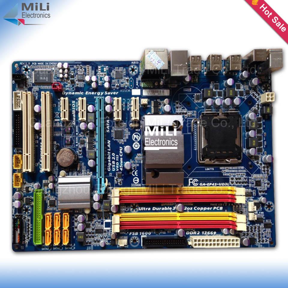 Free Shipping 90% new for Gigabyte GA-EP45-UD3L P45 Desktop motherborad EP45-UD3L LGA 775 DDR2 16G ATX on sale<br><br>Aliexpress