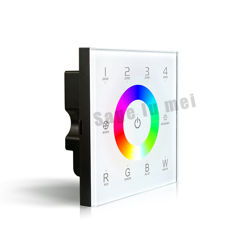AC110V-240V DX8 LED rgbw touch panel controller 4 Zones RF 2.4G+DMX512 control master RGBW wall mounted,for LED rgbw strip panel(China (Mainland))