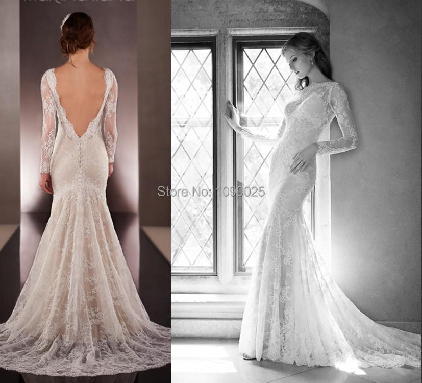New 2015 long sleeves backless mermaid wedding dresses for Lace sleeve backless wedding dress
