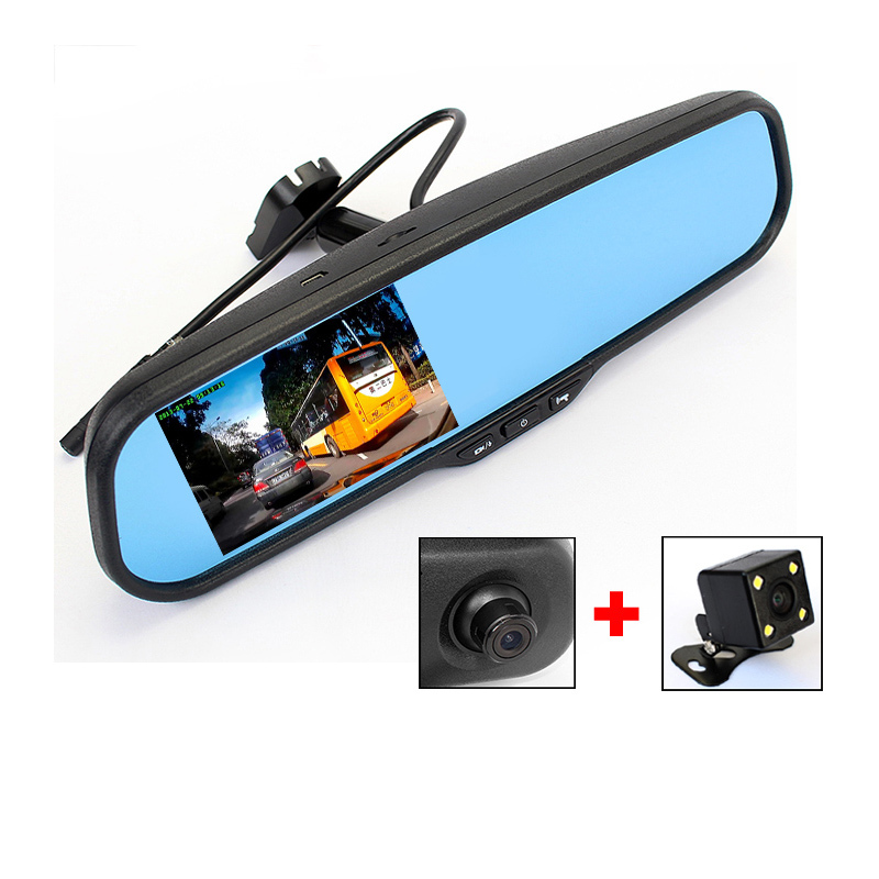 2in1 4.3Inch Full HD 1080P Dual Lens Car DVR Bracket  Blue Mirror Monitor With LED RearView Night Vision CCD Camera(China (Mainland))