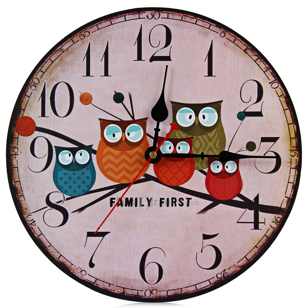 2016 Modern Design Wooden Wall Clock Owl Vintage Rustic Shabby Chic Home Office Cafe Decoration Art Large Watch Horloge Murale(China (Mainland))