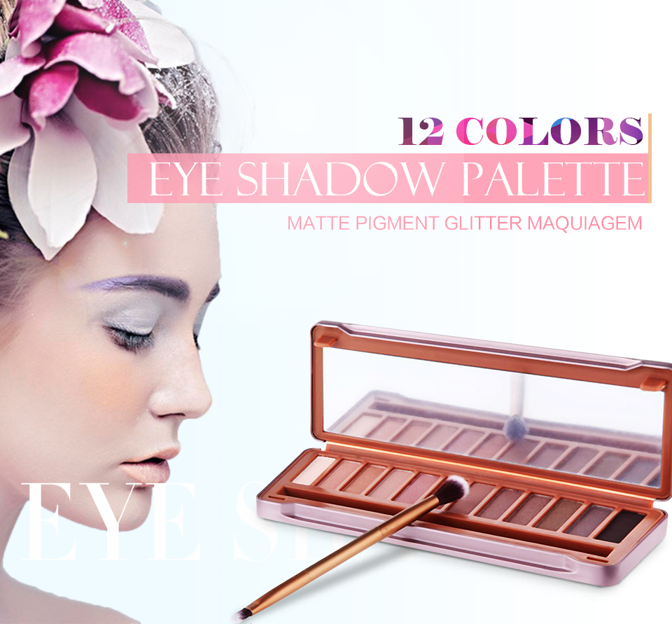 1Lot Matte Glitter Naked Palette maquiagem Eye shadow Palette with Brush Mirror Long Lasting Makeup Eyeshadow For Lady 1694395(China (Mainland))
