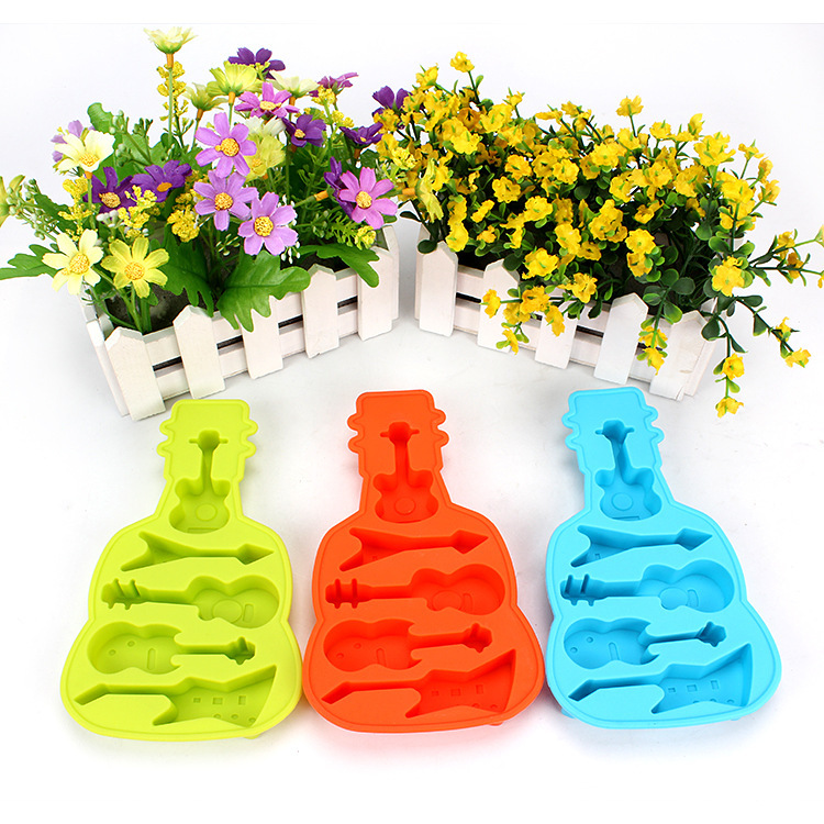 New Creative Guitar Shaped Ice Box DIY Homemade Ice Cream Popsicles Mold Silicone Products Kitchen Making Ice Tray Ice #WL099(China (Mainland))