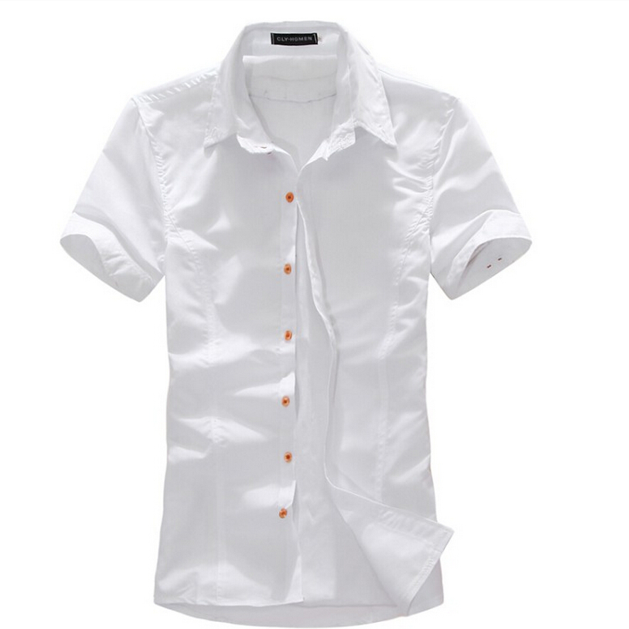 2015 new brand fashion mens dress shirts short sleeve for Mens fitted short sleeve shirts