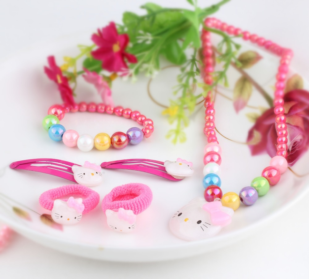 1set=6pcs candy beads hello kitty hair Accessories necklace Bracelets headband hair clip Baby Accessories Girls hair accessories(China (Mainland))