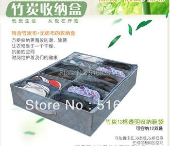 Free Shipping  12 pairs Bamboo Shoe Organizer Holder Home Storage Box Closet Under Bed Shoebox