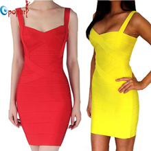 Women Candy Color Spaghetti Strap Bandage Dress Bodycon Mini Sexy Club Dress 2016 Rayon Sheath Party Dresses Drop Ship HL8675(China (Mainland))