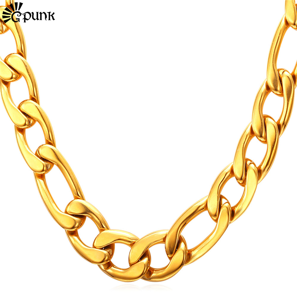 Thick Gold Chain Necklace Men Figaro 316L Stainless Steel 18K Gold Plated Wholesale Men Jewelry 12mm 5 Sizes Jewelry N2012G(China (Mainland))