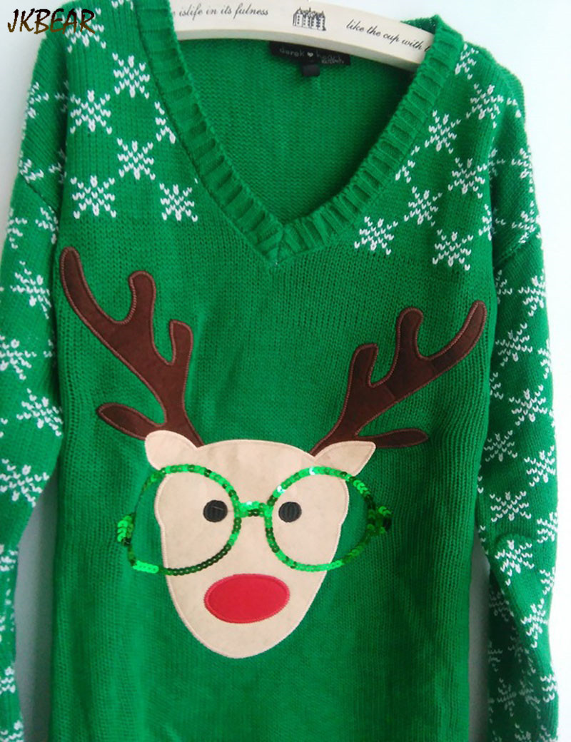 New-arriving Rudolph the Red Nose Reindeer Wearing Glasses Ugly Christmas Sweaters for Women S-XL 5