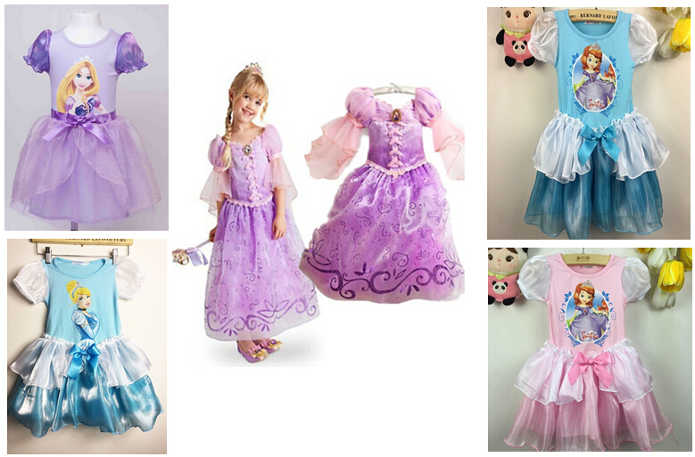 LQ-034 Free Shipping Children Fantasy Dresses Girls Cosplay Dresses Kids Rapunzel Costume Princess Dress Hot Sale Retail(China (Mainland))