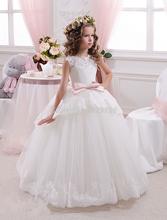 Princesse Blanc Tulle Dentelle Tutu robe de Bal Longues Robes De Demoiselle 2016 Filles D'anniversaire Première Communion Robes robe de daminha(China (Mainland))