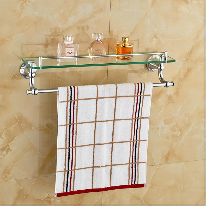 Chrome Polished Bathroom Glass Shelf Wall Mount Cosmetic Holder With Towel Bar Vasos For