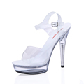 2016 Summer High Heels Stiletto Sandals Transparent Cinderella Crystal Wedding Shoes Sandalias Plataforma