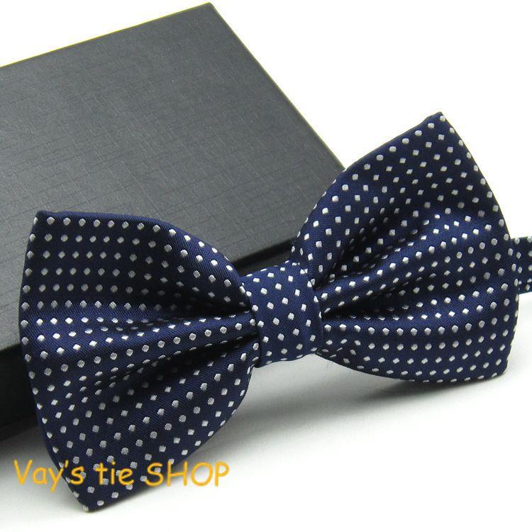 2014 New XMAS Gifts Classic Mens Fashion Dull Jacquard White Dot Leisure Bowtie Wedding Tuxedo Bow Ties Free shipping Navy Blue(China (Mainland))
