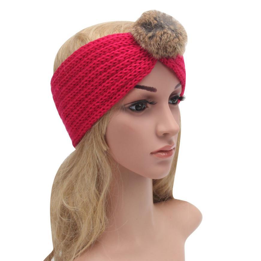 Fur Ball Fashion Handmade Hairband Women's Winter Keep Warm Knitting Wool Headband Women Elastic Hair Bands #JO(China (Mainland))