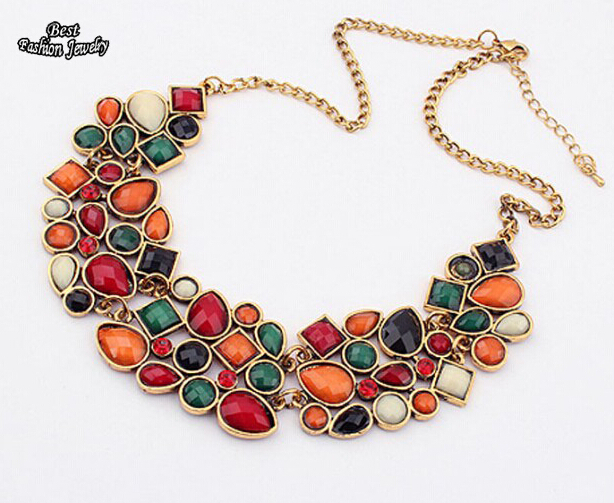 New Popular Multicolor Big Pendant Clavicle Chain Necklace Women's Delicate Banquet Jewelry(China (Mainland))